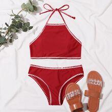 Bikini Badeanzug mit Peitschenstich und Neckholder