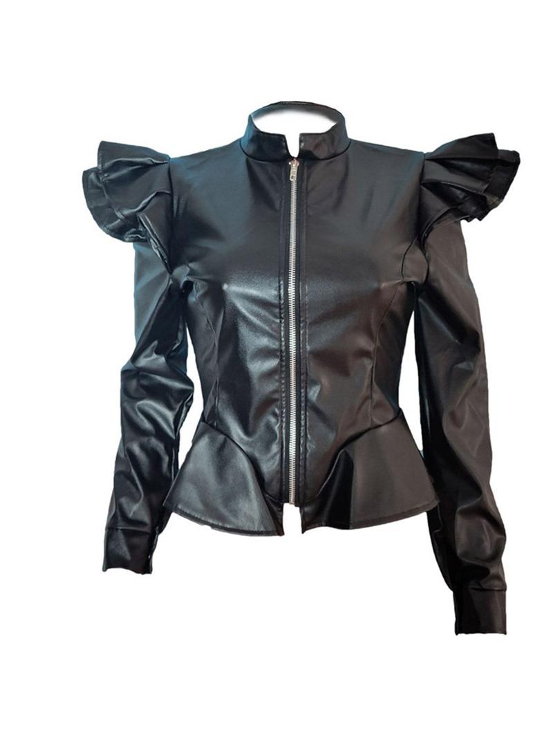 Ericdress Zipper Slim Standard Fall PU Jacket