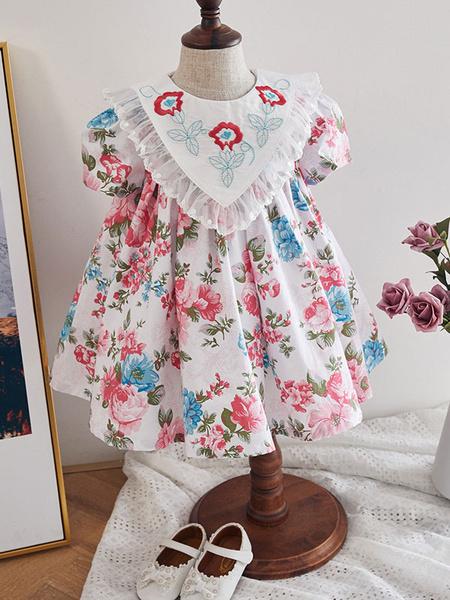 Milanoo Kids Lolita Dress Floral Print Short Sleeve Summer Dress