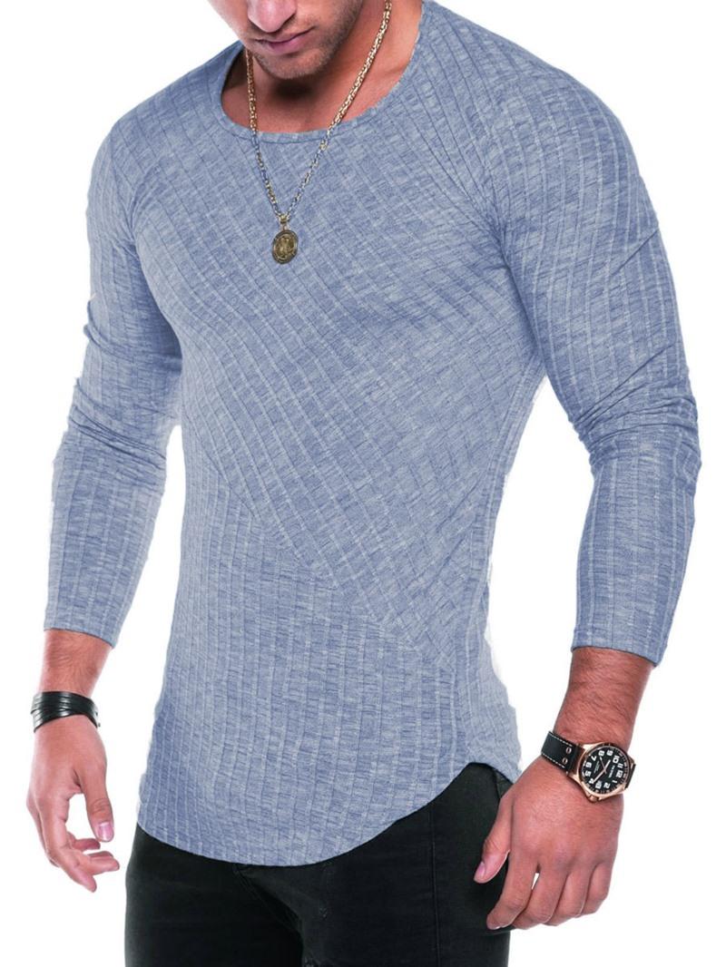 Men's Clothing Plain Scoop Slim Cotton T Shirt