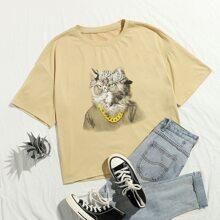 T-Shirt mit Karikatur Grafik