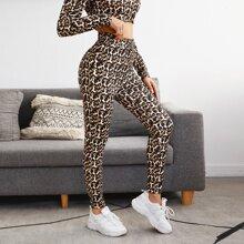 Leopard Tie Front Skinny Pants
