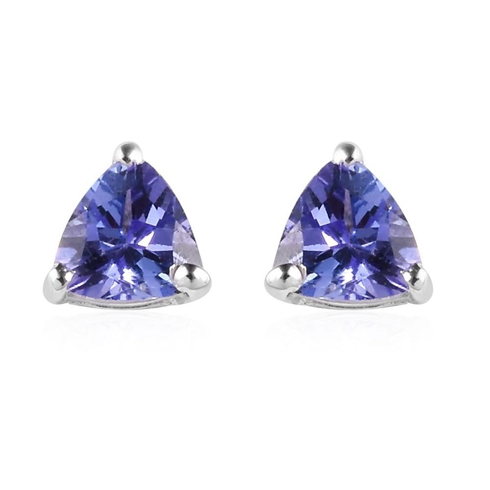 Platinum Over Sterling Silver Blue Tanzanite Stud Earrings Ct 0.66 (Tanzanite - Blue - Blue)