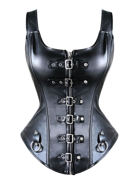 Milanoo Black Steampunk Bustier Metallic Rivet Women Retro Costume