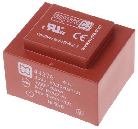 Myrra 24V ac 2 Output Through Hole PCB Transformer, 10VA