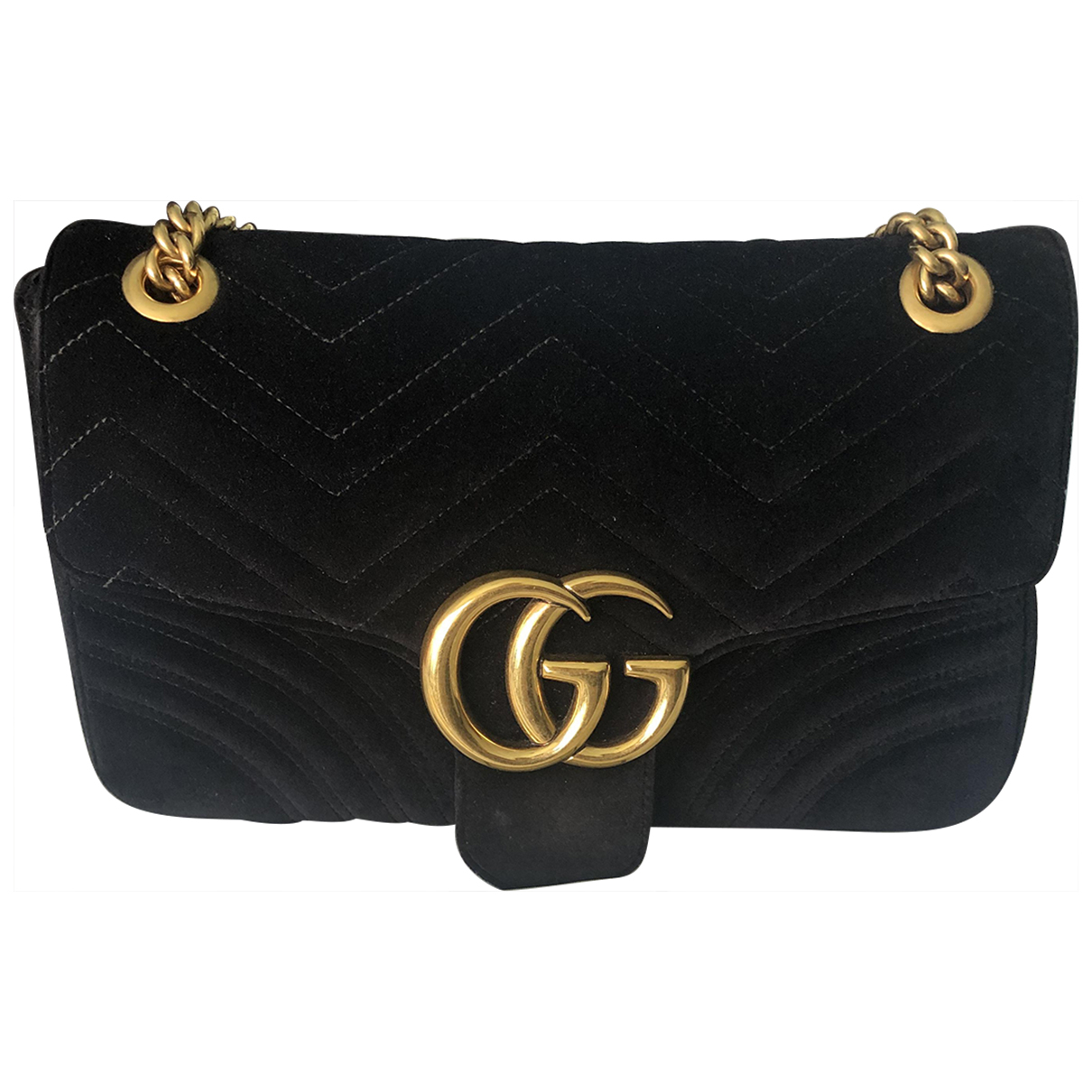 Gucci Marmont Handtasche in  Schwarz Samt