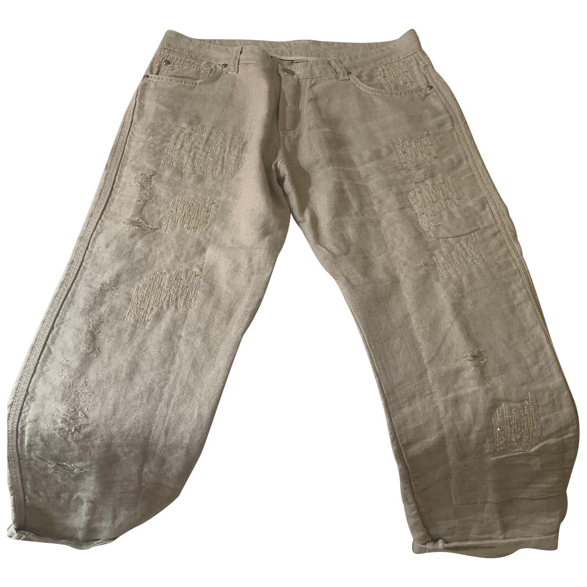 Ermanno Scervino \N Ecru Linen Trousers for Women 42 IT