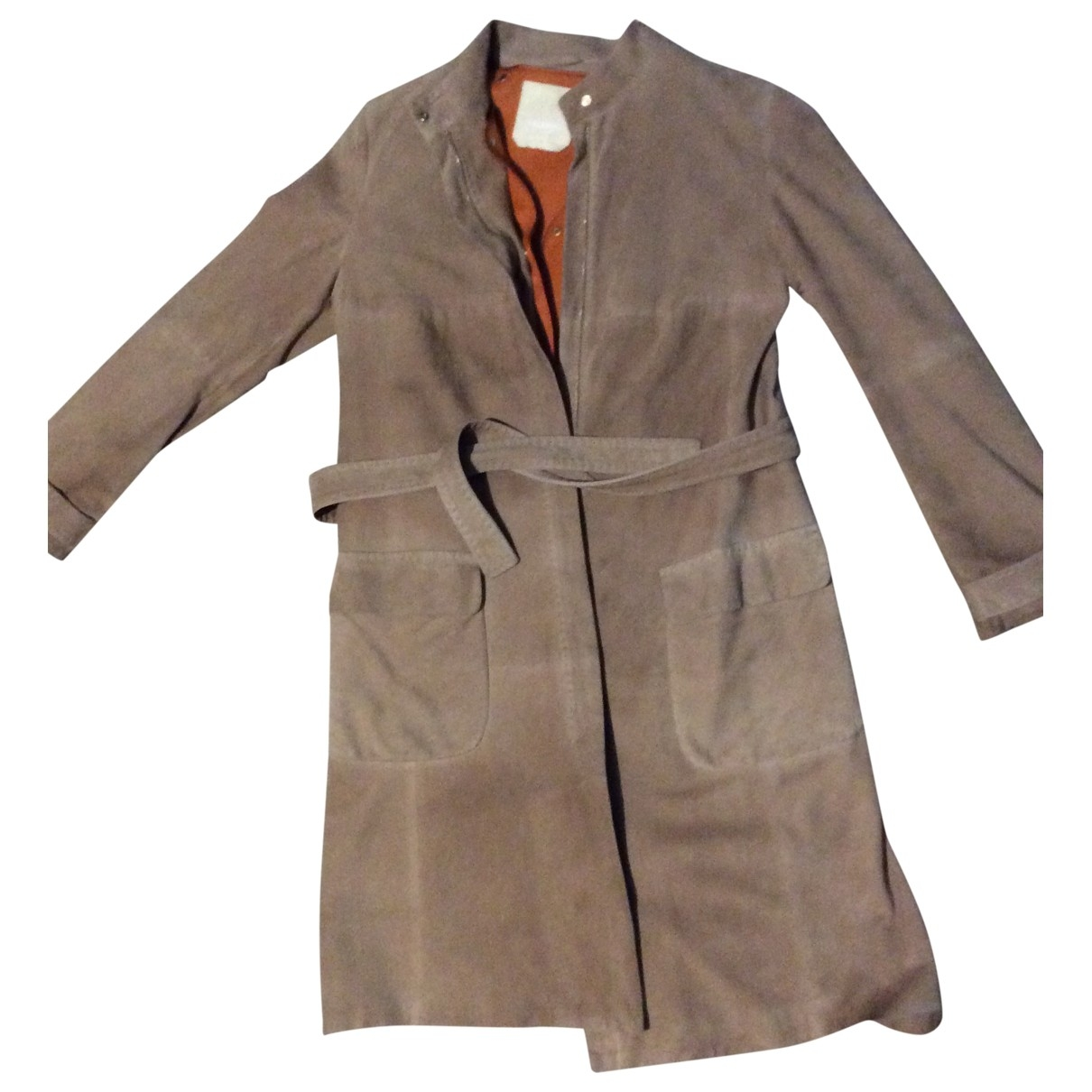 Max Mara 's \N Camel Leather coat for Women 40 FR
