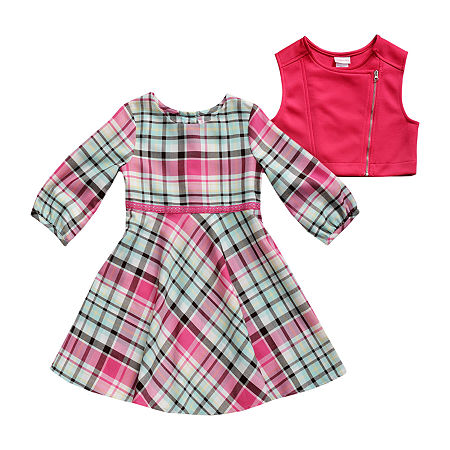 Emily West Cardigan Dress Little Girls Short Sleeve Dress Set, 6x , Pink