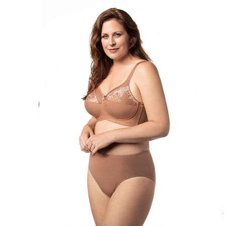 Elila Embroidered Microfiber Softcup Full Coverage Bra, G , Brown