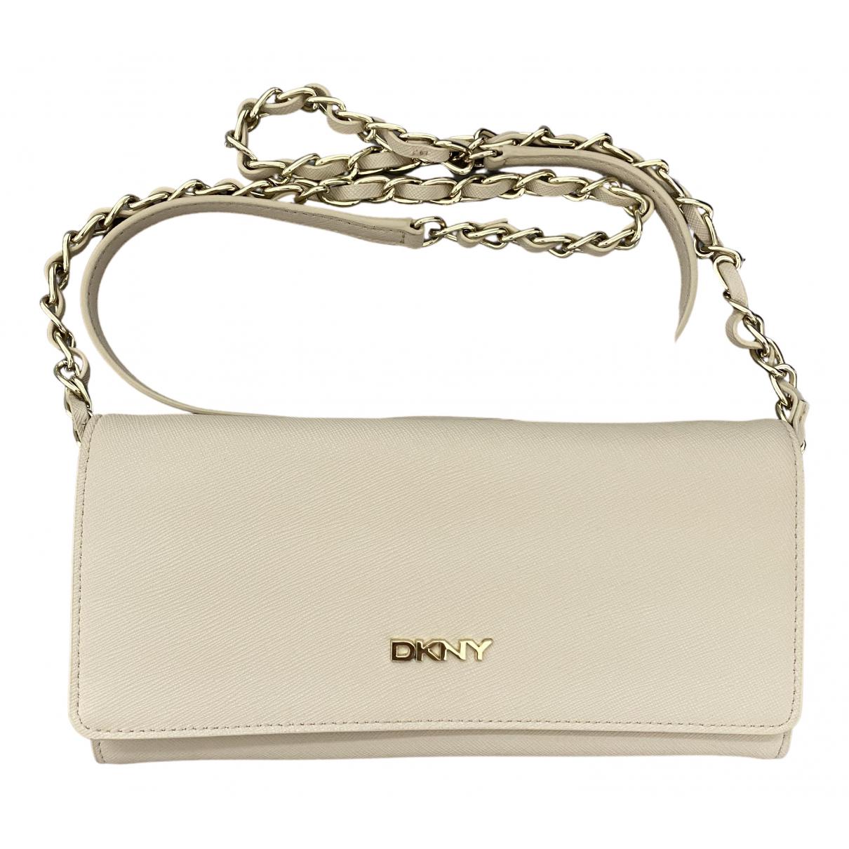 Dkny - Pochette   pour femme en cuir - beige