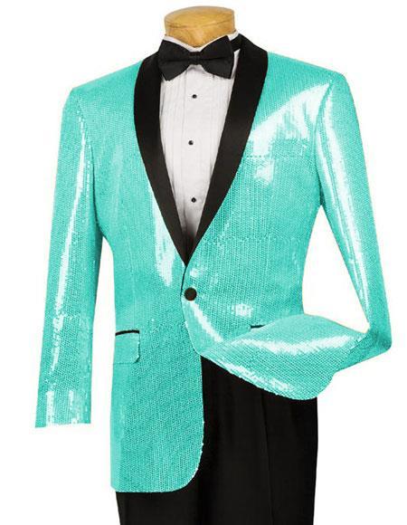 Mens Black Blazer  Sport Coat Tuxedo Dinner Jacket Turquoise