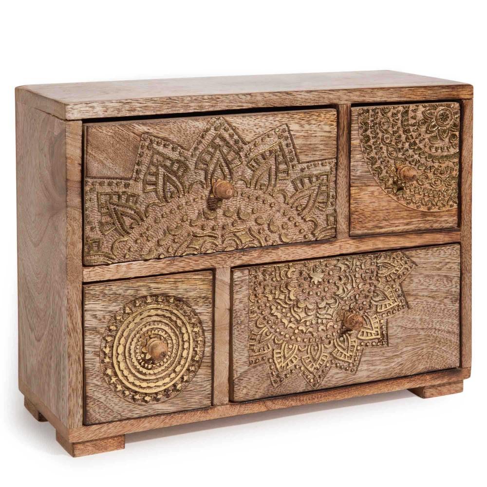 Box mit 4 Schubladen aus Mangoholz mit goldfarbenen Motiven