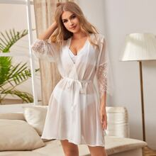 Contrast Lace Chiffon Belted Robe