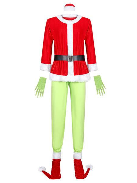 Milanoo Disfraz Halloween Rojo Grinch Cosplay Como el Grinch robo la Navidad del traje de Navidad de 6 piezas Carnaval Halloween