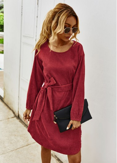 Cocktail Party Dress Round Neck Long Sleeve Belted Dress - L