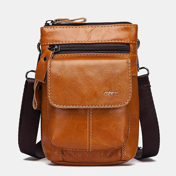 Men Flap Genuine Leather Funny Pack Crossbody Bag