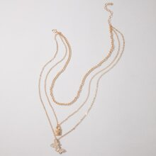 Butterfly & Lock Layered Necklace