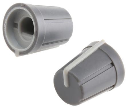 RS PRO Potentiometer Knob, Push-On Type, 13mm Knob Diameter, Grey, D Shaped Shaft Type, 6mm Shaft (10)