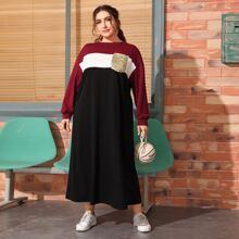 Sweatshirt Kleid mit Pailletten, Taschen Flicken und Farbblock
