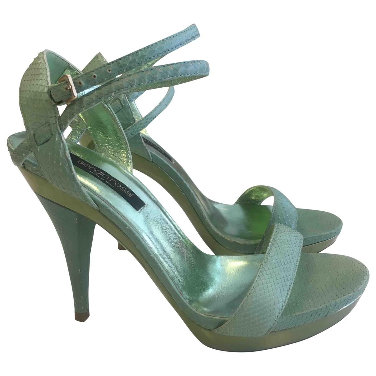 Sergio Rossi - Sandales   pour femme en python - vert