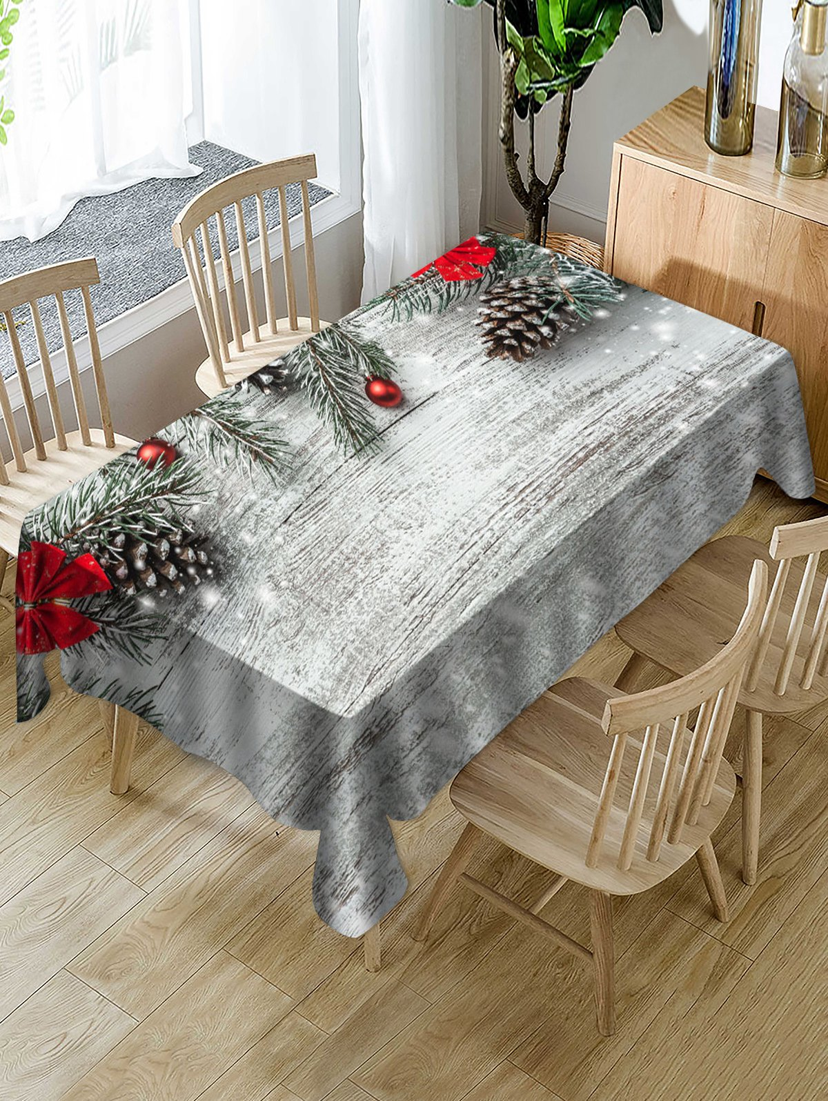 Christmas Ball Fabric Waterproof Table Cloth