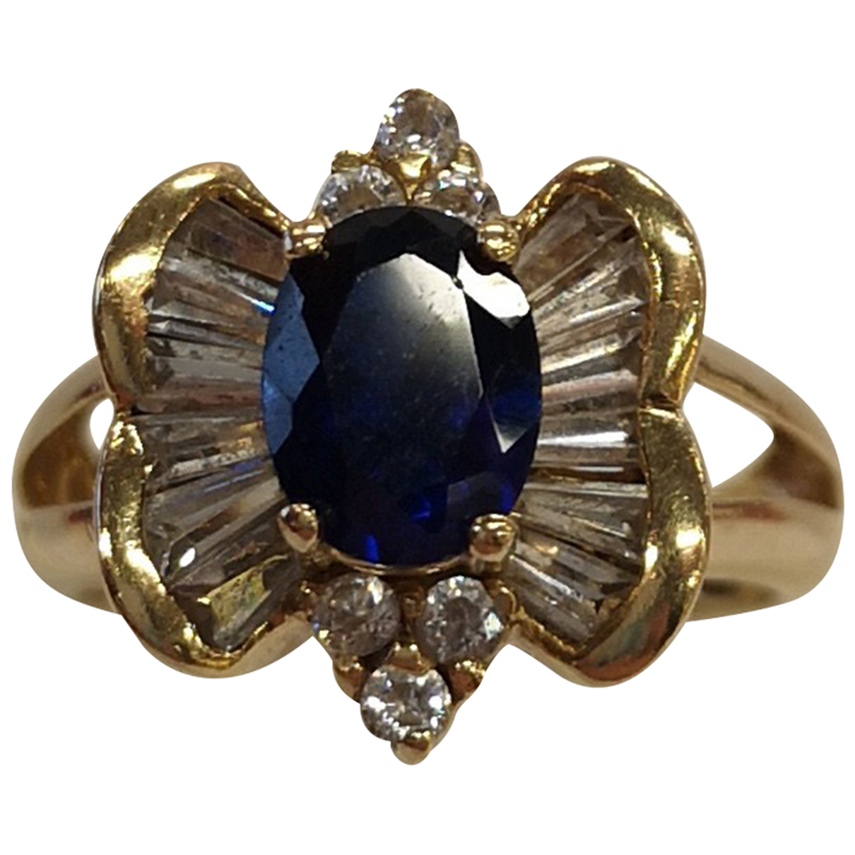 Non Signé / Unsigned Saphir Yellow Yellow gold ring for Women 55 MM