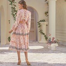 Kleid mit V Ausschnitt, Band hinten und Stamm Muster