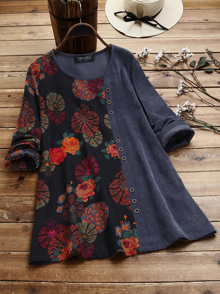 Floral Print Patched O-neck Long Sleeve Corduroy Blouse