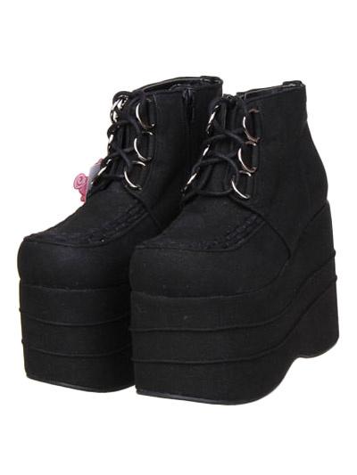 Milanoo Black Micro Suede Lolita High Platform Shoes Lace Up