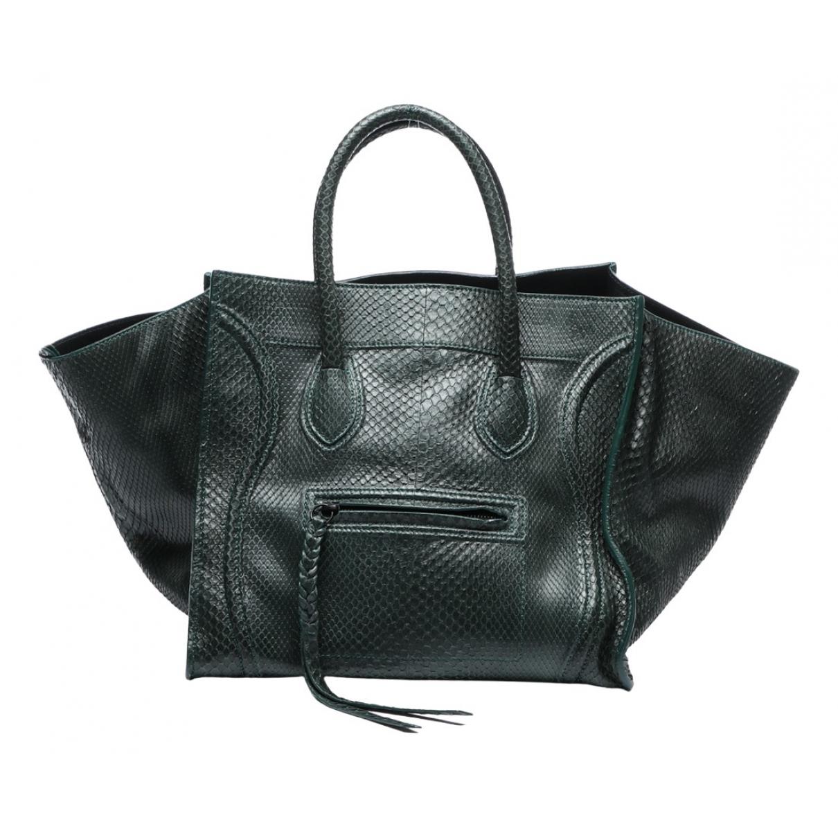 Celine Luggage Phantom Handtasche in  Gruen Exotenleder