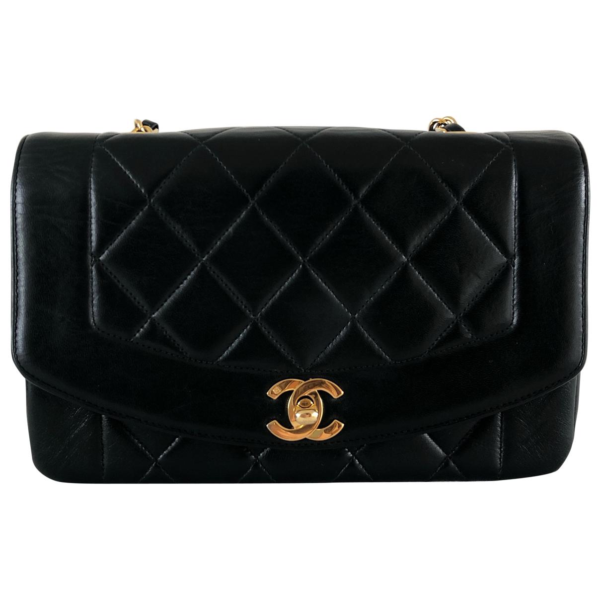 Chanel - Sac a main Diana pour femme en cuir - noir