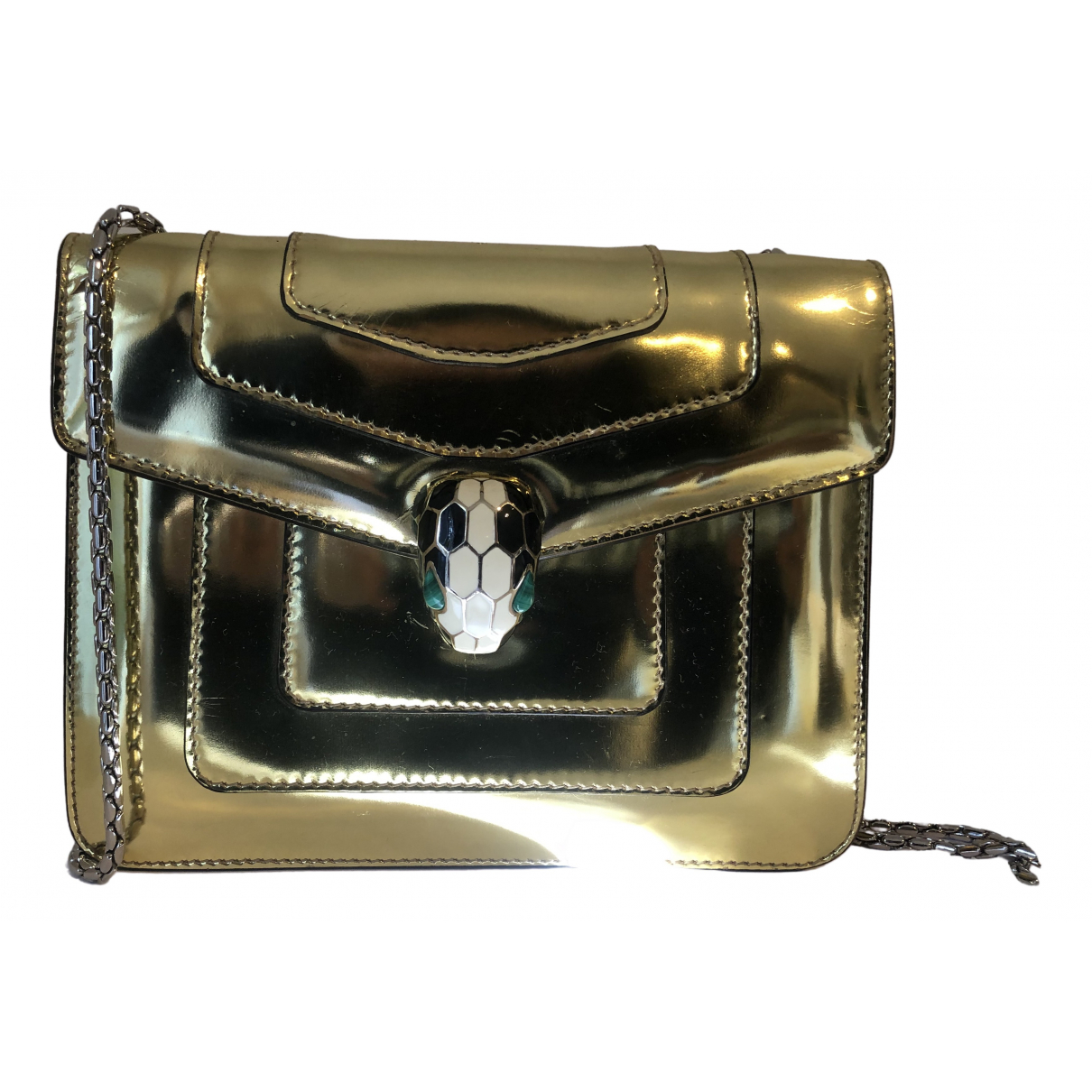 Bvlgari Serpenti Handtasche in  Gold Lackleder