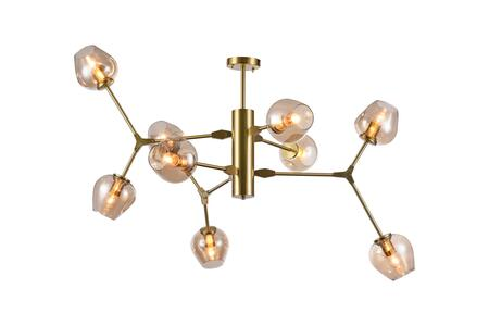 DU101G 9-Light Ceiling Fixture with Steel and Glass Materials and 40 Watts in Gold