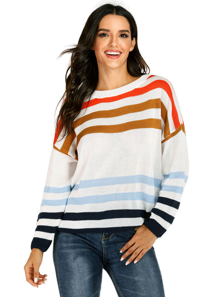 Milanoo Women Pullover Sweater Oragnge Red Stripes Jewel Neck Long Sleeves Oversized Sweaters