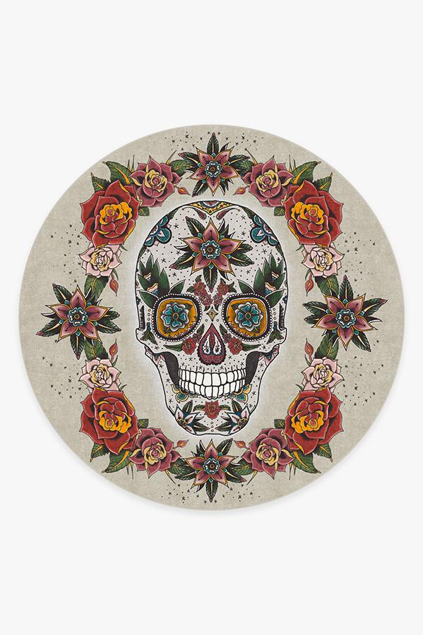 Washable Rug Cover | Sugar Skull Rug | Stain-Resistant | Ruggable | 8' Round