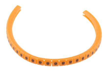 RS PRO Snap On Cable Marker, Pre-printed 9 Black on Orange 3 → 3.4mm Dia. Range