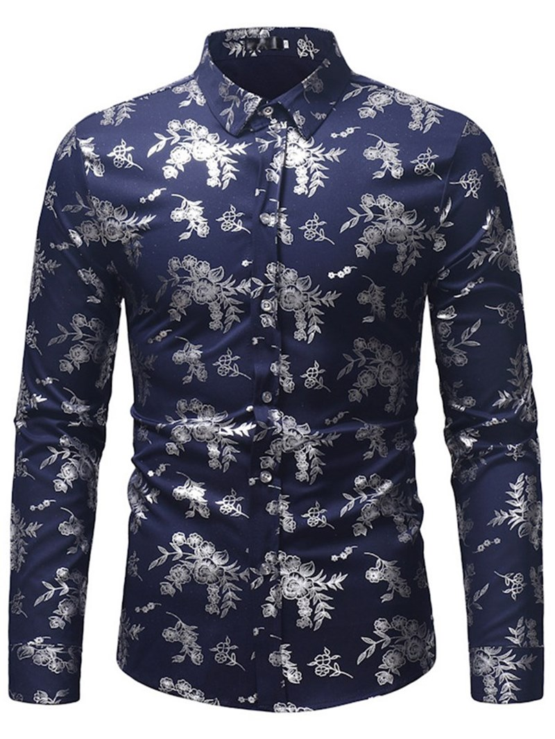 Ericdress Print Slim Lapel Mens Casual Dress Shirts