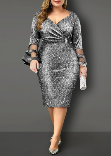 Hot Stamping Flare Sleeve Plus Size Dress - 3X
