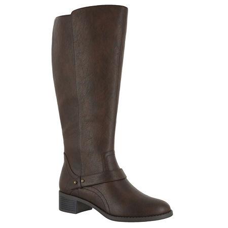 Easy Street Womens Jewel Plus Block Heel Zip Riding Boots, 9 Wide, Brown