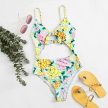 Floral Cut-out One Piece Swimsuit