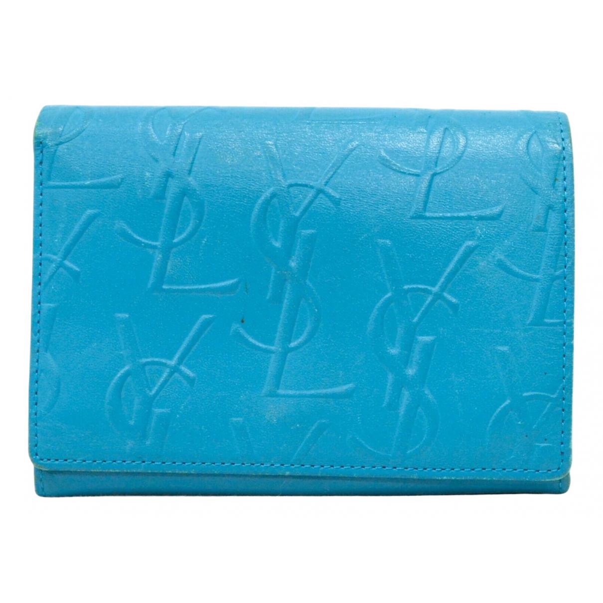 Yves Saint Laurent - Portefeuille   pour femme en cuir - bleu