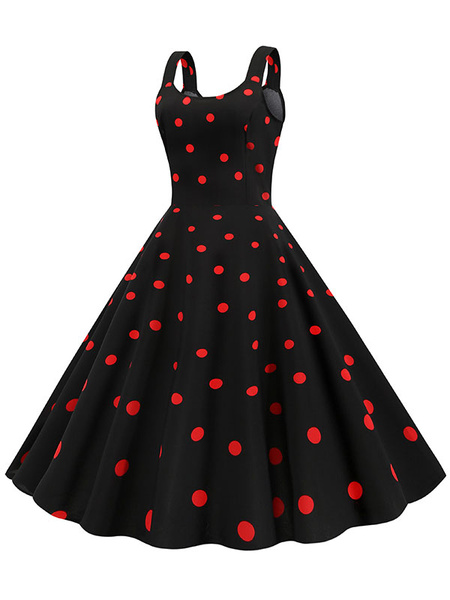 Milanoo Vintage Dress 1950s Polka Dot Woman Sleeveless Jewel Neck Swing Dress