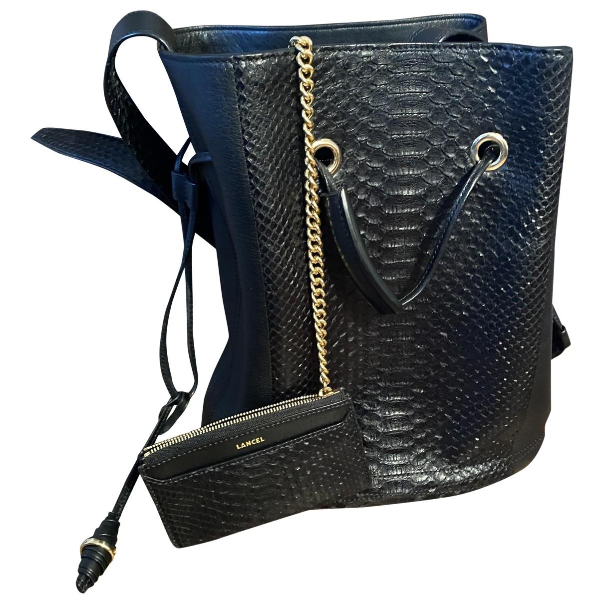 Lancel Huit Handtasche in  Schwarz Exotenleder