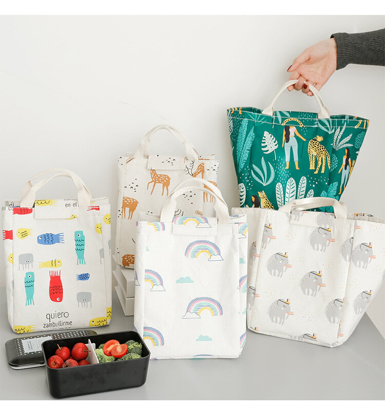 Creative Portable Japanese-style Large Insulation Bag Nordic Style Lunch Bag Animal Plant Pattern