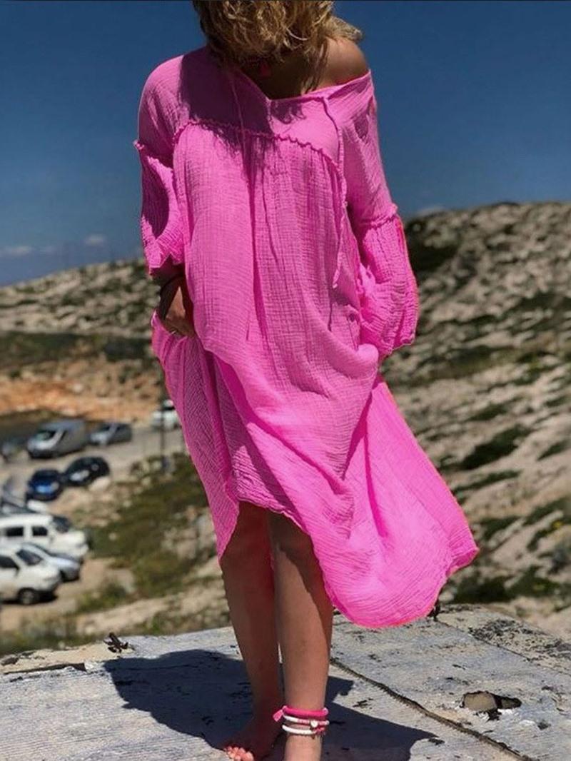 Ericdress Casual V-Neck Long Sleeve Asymmetric Regular Dress