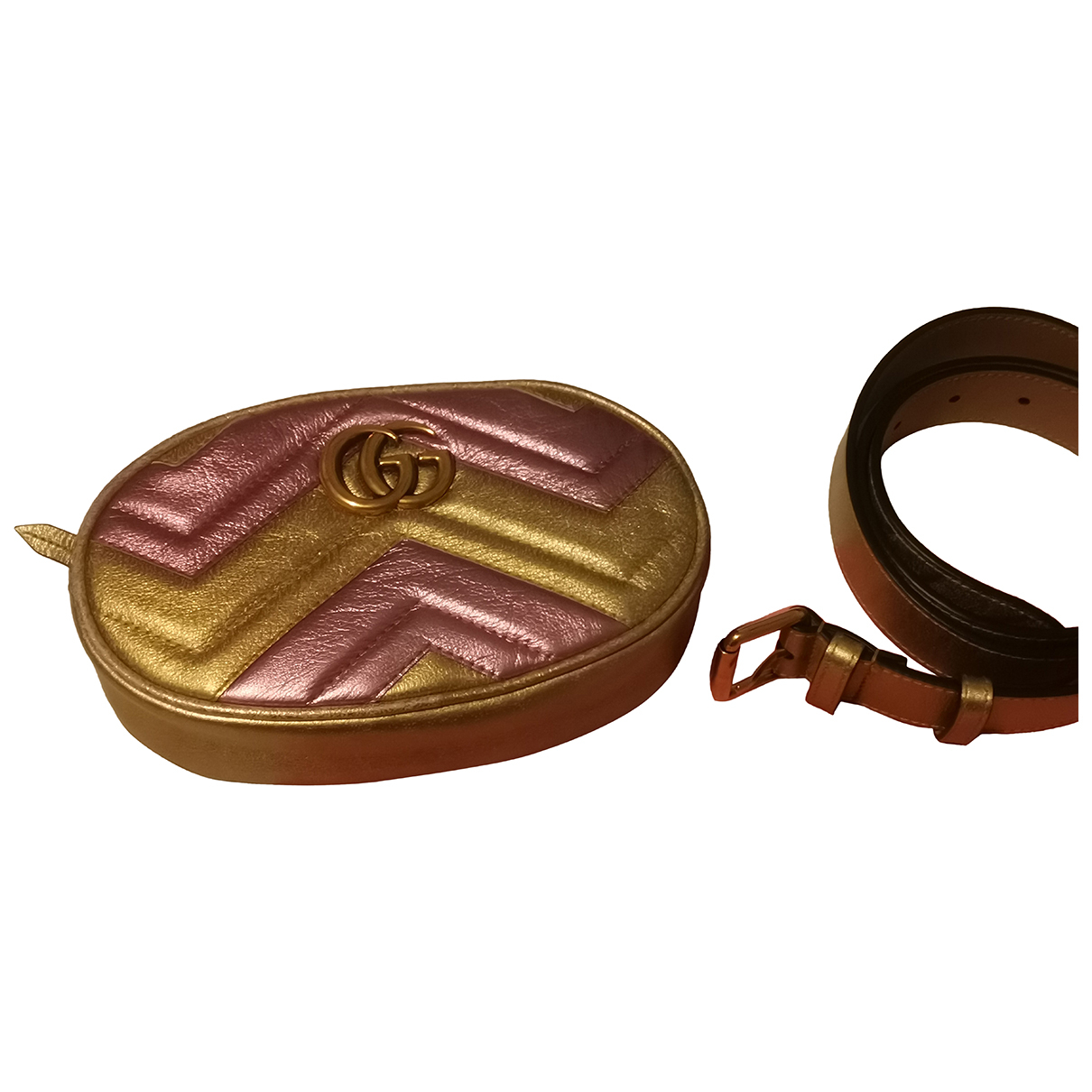 Gucci Marmont Gold Leather Clutch bag for Women N