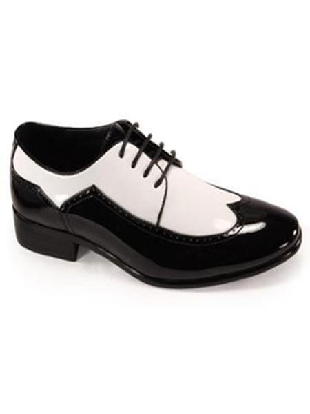 Bold Black White Wingtip 2 toned Shiny Dress Shoe 1920s Gangster Style