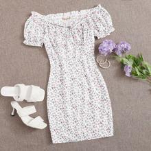 Off Shoulder Tie Neck Frill Trim Ditsy Floral Shirred Back Dress