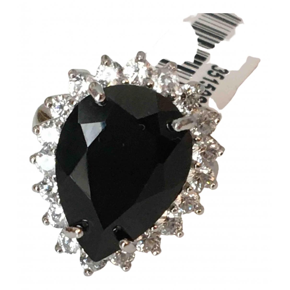 Non Signé / Unsigned Bagues Cocktails Black Silver Gilt ring for Women 54 EU